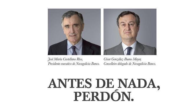 El presidente Ejecutivo, José Marían Castellano, y el consejero delegado, César González-Bueno piden perdon en una carta escrita a los medios