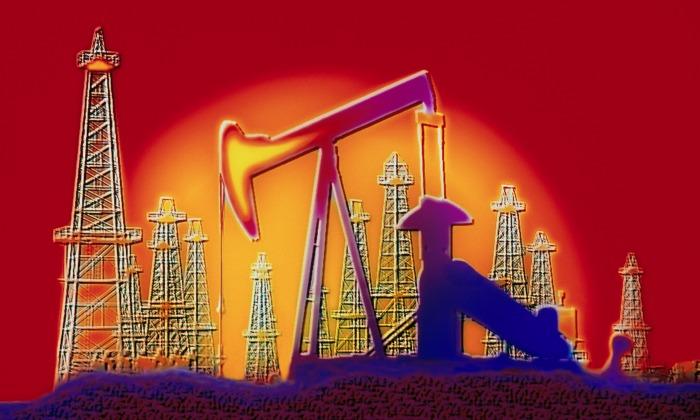 Oil Well Pump and Derricks --- Image by © Bill Ross/CORBIS